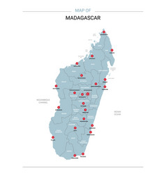 Madagascar map with red pin vector