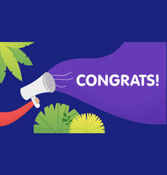male hand holding megaphone with congrats speech vector image