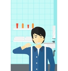 Man brushing teeth vector