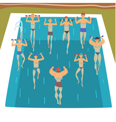Men making aqua gym exercises with dumbbells in vector