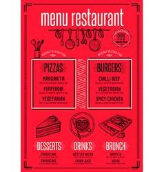 Menu restaurant food template placemat vector image