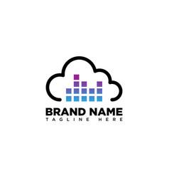 Music cloud logo design template vector