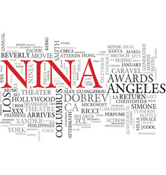 nina word cloud concept vector image