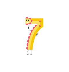 Number seven cute cartoon character for teaching vector