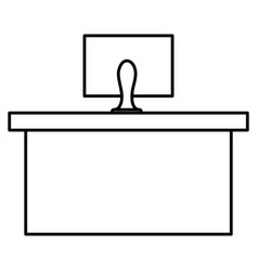 Office desk with computer vector