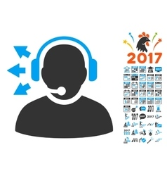Operator Answer Speech Icon With 2017 Year Bonus vector