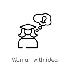 Outline woman with idea icon isolated black vector