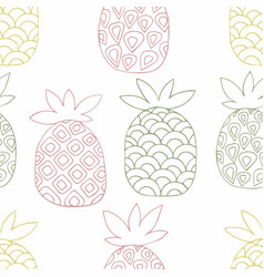 pineapples hand drawing seamless pattern vector image