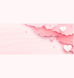 Pink banner background in papercut realistic style vector