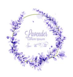 Pink watercolor lavender wreath delicate vector
