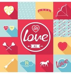 Pop-art set symbol of love vector image