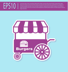 Retro purple fast street food cart with awning vector