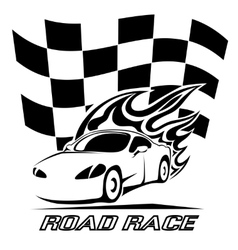 Road Race poster design in black and white vector image