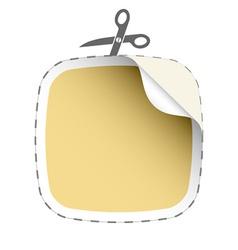 scissors cutting beige sticker vector image