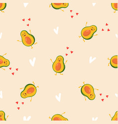 Seamless pattern with funny bright avocado vector