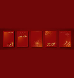 set cards 2021 happy new year red gold texture vector image