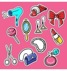 Set of fashionable patches hairdryer pomade vector
