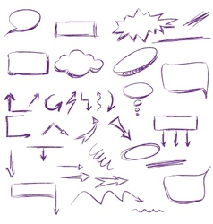 Set of many hand-drawn arrows isolated vector image