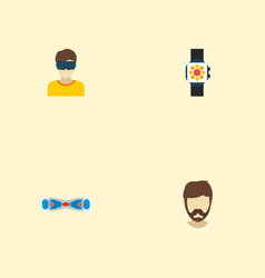 set of modern icons flat style symbols with vr vector image