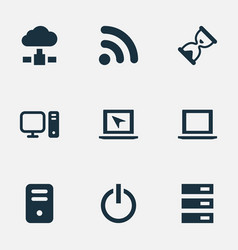 Set of simple computer icons vector