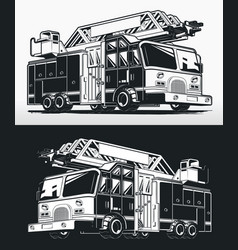 silhouette firefighter truck fire engine drawing vector image