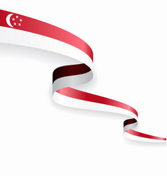 singapore flag wavy abstract background vector image