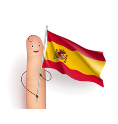 spain flag at finger man vector image vector image