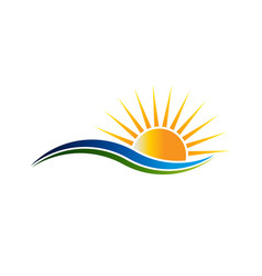 sunshine logo in waves illutration vector image