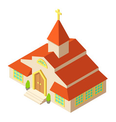 Tall church icon isometric style vector