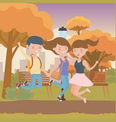 Teenager boy and girls cartoon design vector