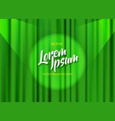 Theater stage template with green heavy curtain vector