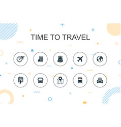 time to travel trendy infographic template thin vector image