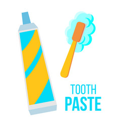 tooth paste brush child dental care vector image