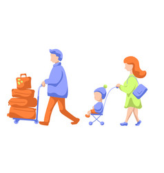traveling family with child and luggage trolley vector image