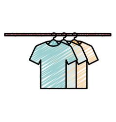 Tshirts hanging in hook vector