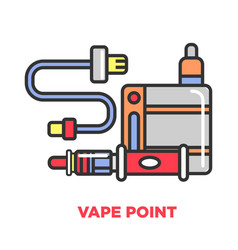 Vape point shop promotional poster with modern vector
