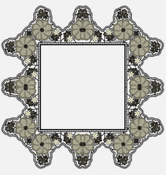Vintage lace frame with crocheted flowers isolated vector