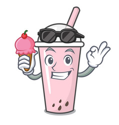 with ice cream raspberry bubble tea character vector image