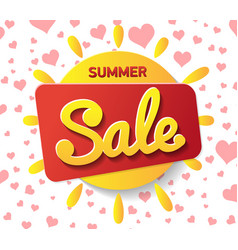 yellow sun with summer sale text on white vector image