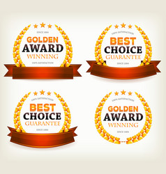 awards banners ribbons and laurel leaves vector image
