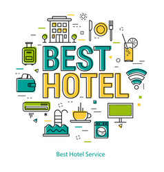 best hotel service - line concept vector image vector image