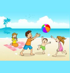 family having a picnic at the beach vector image