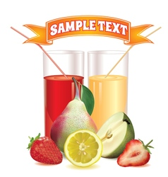 glasses with juice lemon pear and strawberry vector image vector image
