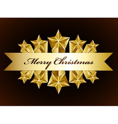 golden merry christmas stars label vector image