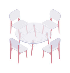 isometric four chairs and transparent round table vector image vector image