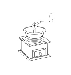 Manual coffee grinder mill vector image vector image
