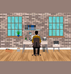modern workspace design in hipster style with man vector image vector image