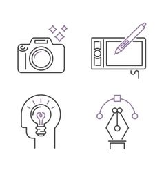 Photography icons camera design studio symbol lens vector image