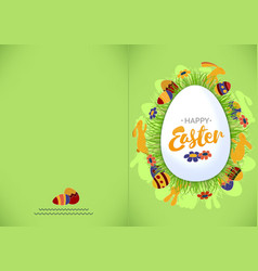 ready for print happy easter green greeting card vector image vector image