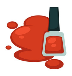 Red nail polish in bottle and its sample spot vector